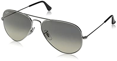 a06e0639a26a0 Image Unavailable. Image not available for. Color  New Ray Ban Aviator  RB3025 003 32 Silver  Crystal Grey Gradient 55mm Sunglasses
