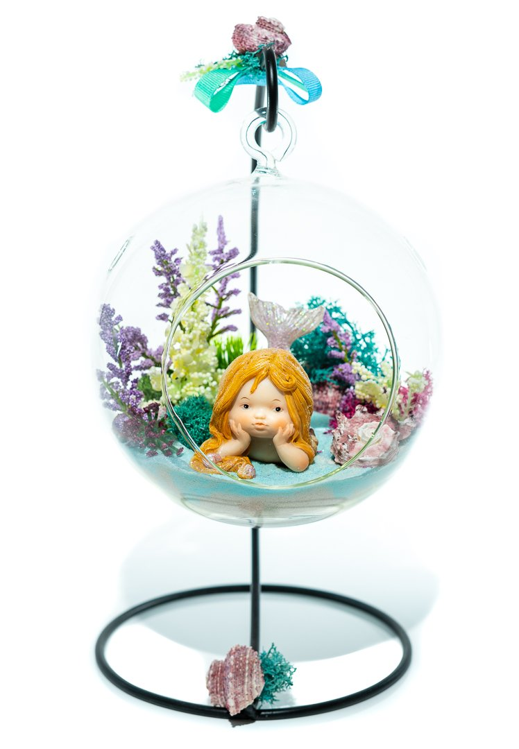 "Terrarium Kit | Little Mermaid | Mermaid Series | Complete Terrarium Gift Set with Stand | 6"" Glass Globe Terrarium Container 
