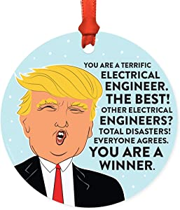 Andaz Press Round Natural Wood MDF Christmas Ornament Gift, Funny President Donald Trump, Terrific Electrical Engineer, 1-Pack, Includes Ribbon, Keepsake Gifts for Coworkers