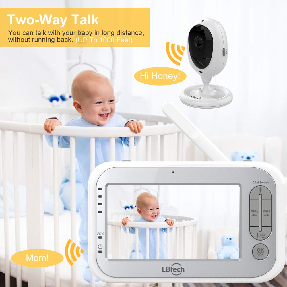 LBtech Video Baby Monitor with Two Cameras and 4.3'' LCD,Auto Night Vision,Two-Way Talkback,Temperature Detection,Power Saving/Vox,Zoom in,Support Multi Camera by LBtech (Image #4)