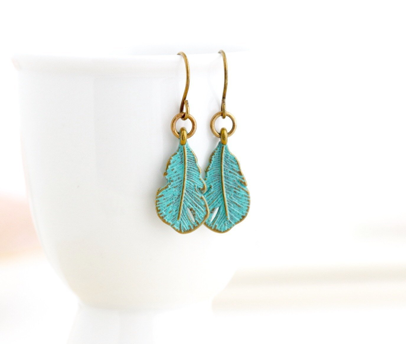 Green Feather Earrings With Brass Ear Wires