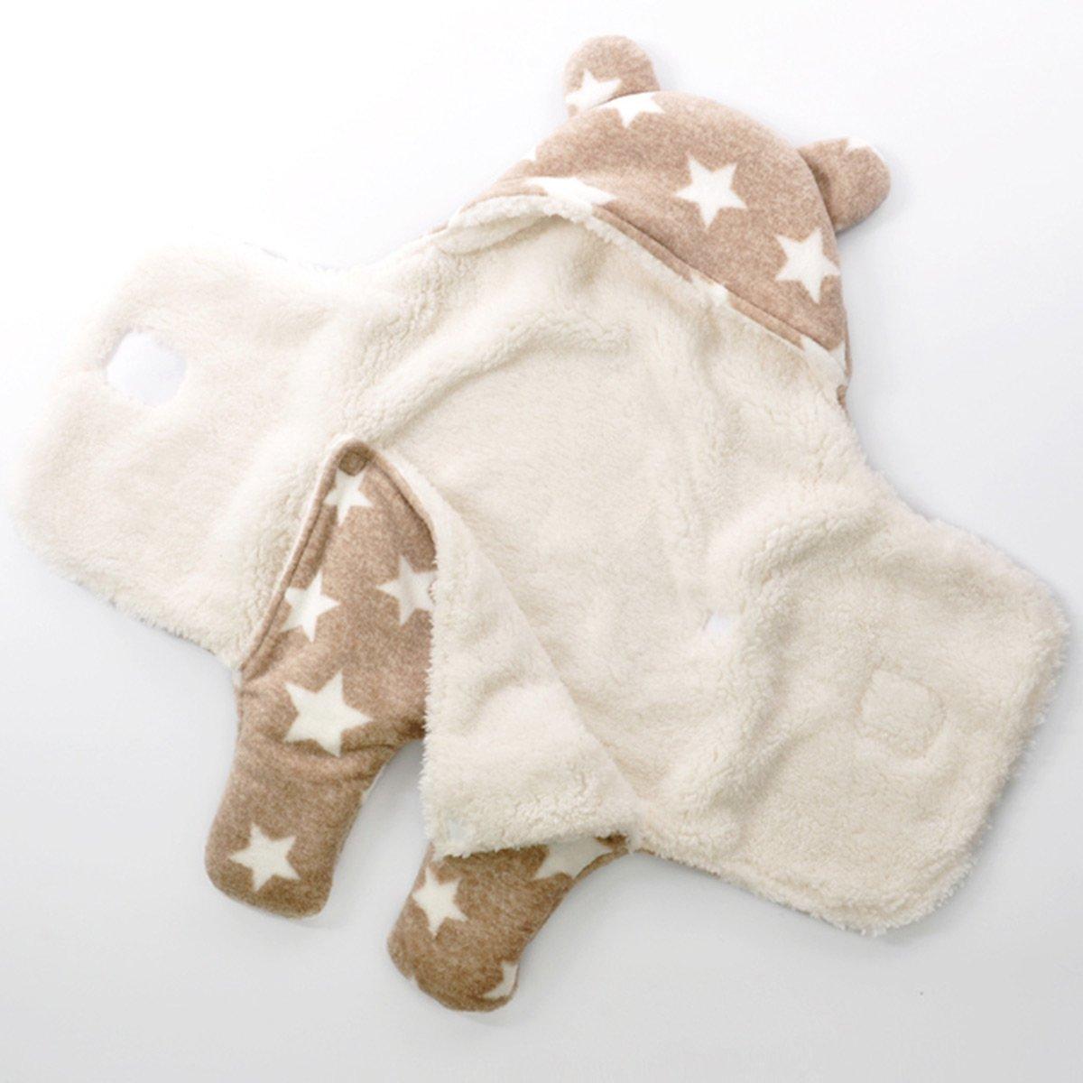 Happy Cherry Baby Polyester Swaddle Neugeborene Kapuze Schlafsack Separate Beine Baby Pucktuch Herbst Winter M/ädchen Junge Wickeldecke Braun