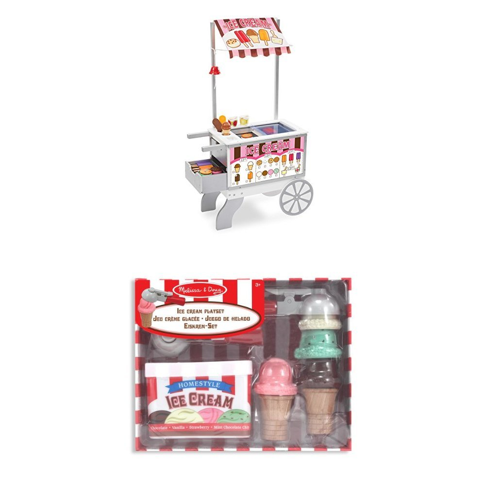Melissa Doug Wooden Snacks And Sweets Food Cart Toy With