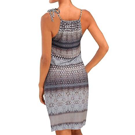 Culater Vestido Cuello Halter Vestido Boho Sin Mangas con Estampado De Mini Vestido De Playa Informal Vestido De Fiesta Mujeres Gris: Amazon.es: Ropa y ...