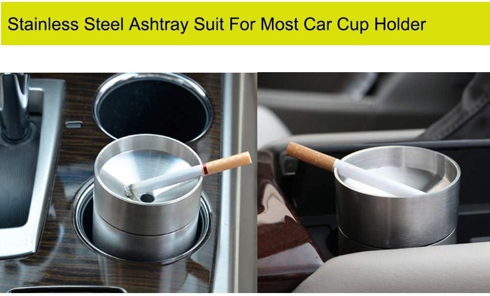 Easy Clean Up abnehmbare Trichter Aschenbecher passend for die meisten Autos Becherhalter Edelstahl-Auto-Aschenbecher mit Deckeln Au/ßen windundurchl/ässige automatisch Erloschene Aschenbecher