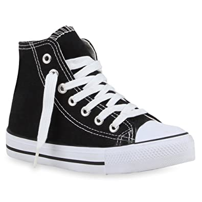 c0373f263aecb5 Stiefelparadies Kinder Mädchen Jungen Sneakers High Top Sportschuhe  Stoffschuhe Schnürer Flandell  Amazon.de  Schuhe   Handtaschen