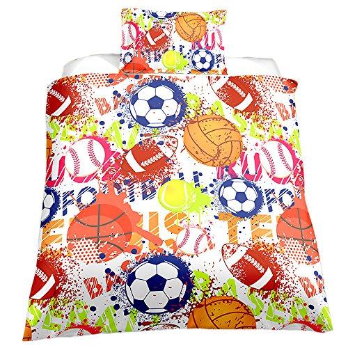 KTLRR Ball Series Duvet Cover Set,Football Basketball Baseball Rugby Sports Colorful,Kids Boys Girls Decoration Bedding Set 3pcs,Microfiber Fabric,No Comforter (Ball, Twin 2pcs) -