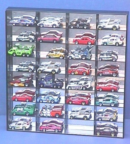 Price comparison product image Protech Shadow Box Display Case for 32 Loose 1/64 Scale Redlines / Hot Wheels / Match Box Die Cast Cars (With Mirror Back)