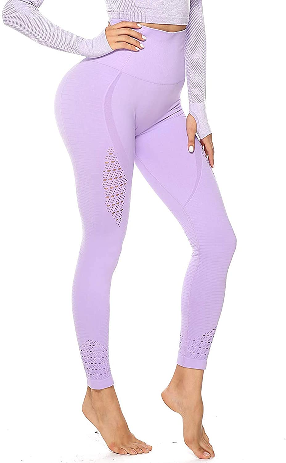 SEASUM Womens High Waist Active Energy Leggings Slimming Seamless Compression Fit Pants Workout Tights Tummy Control
