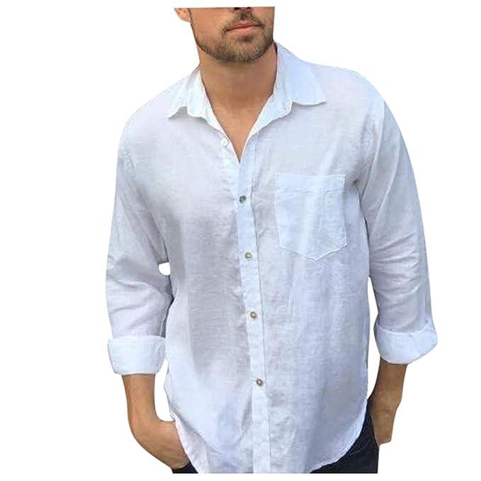 Camicia da Uomo Elegante,Moda Risvolto Tinta Unita Manica