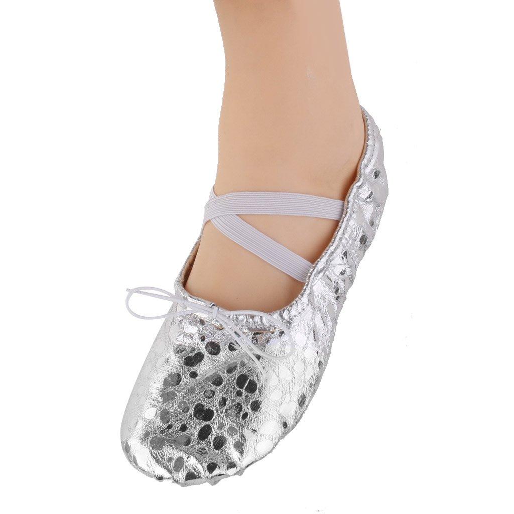 7a725556d8e97 Chausson de Pointe Chaussures de Danse Ballet Gymnastique en PU Cuir  Brillant pour Filles Femmes  Amazon.fr  Chaussures et Sacs