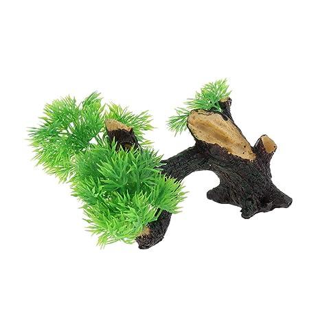 B Blesiya Ornamento Acuario Verde Hoja Reptil Tanque Complimentos Pecera Acuario Plantado Fácilmente Cómodo