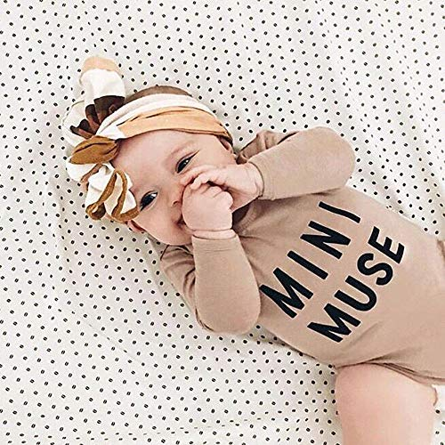 NUWFOR Newborn Infant Baby Boy Girl Letter Romper Bodysuit Headband Outfits Clothes Set(Beige,18-24 Months by NUWFOR (Image #1)