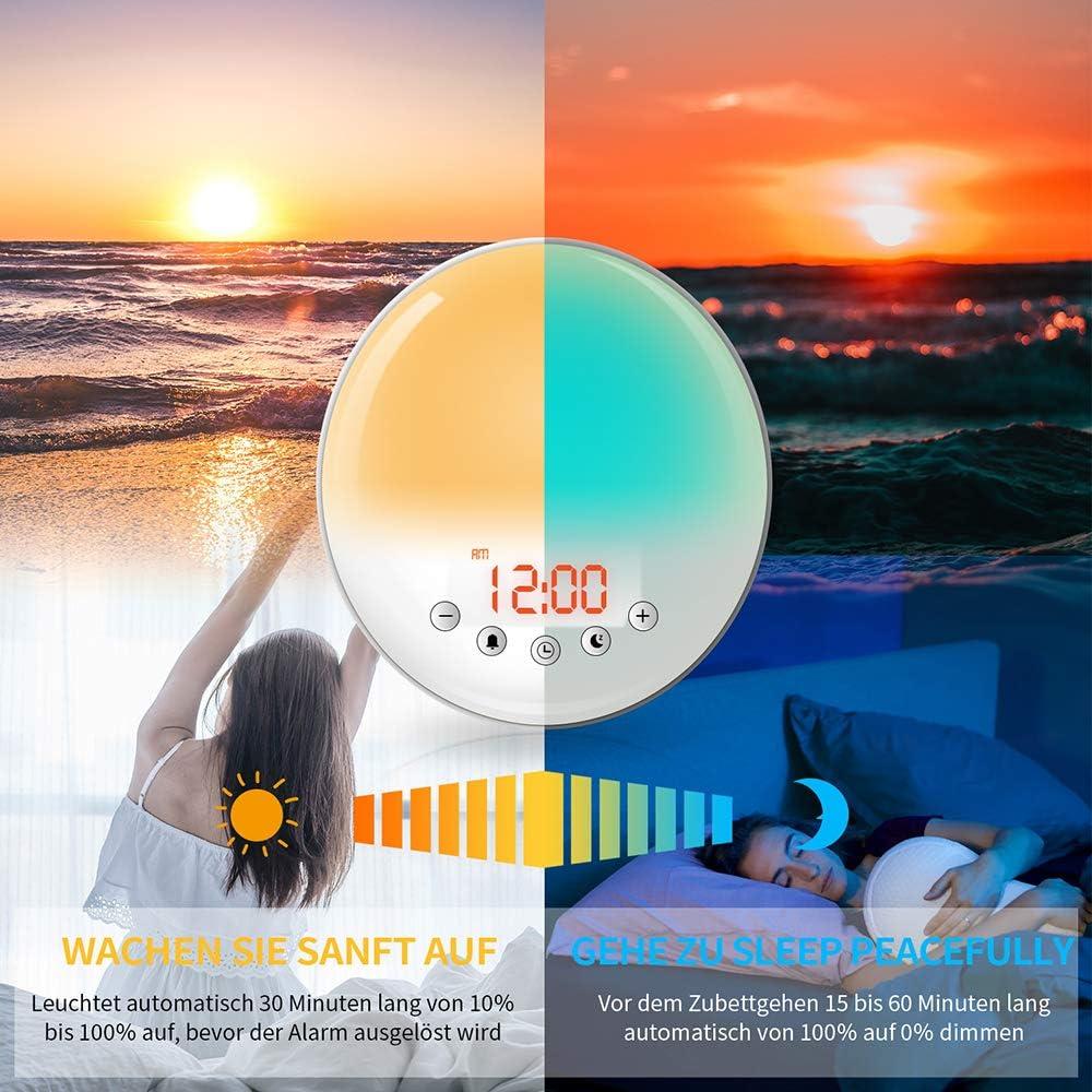 luz con 30 brillos despertador simulaci/ón de puesta de sol Despertador con luz de amanecer Lefree