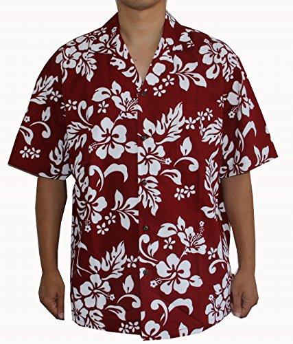 HAWAIIAN MEN'S CLASSIC FLOWER SHIRT, XL, RED