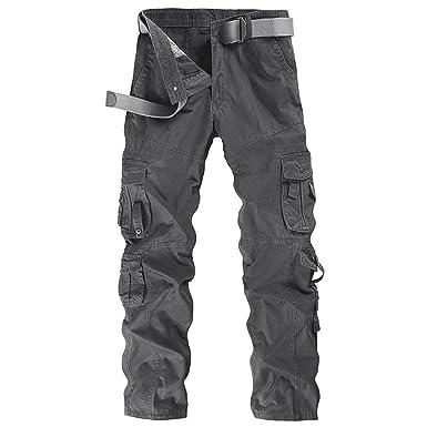 ZKOO Pantalon Multi Bolsillos Laboral Hombre Cargo Pantalons Pantalones De Trabajo Militar Casual Algodón: Amazon.es: Ropa y accesorios