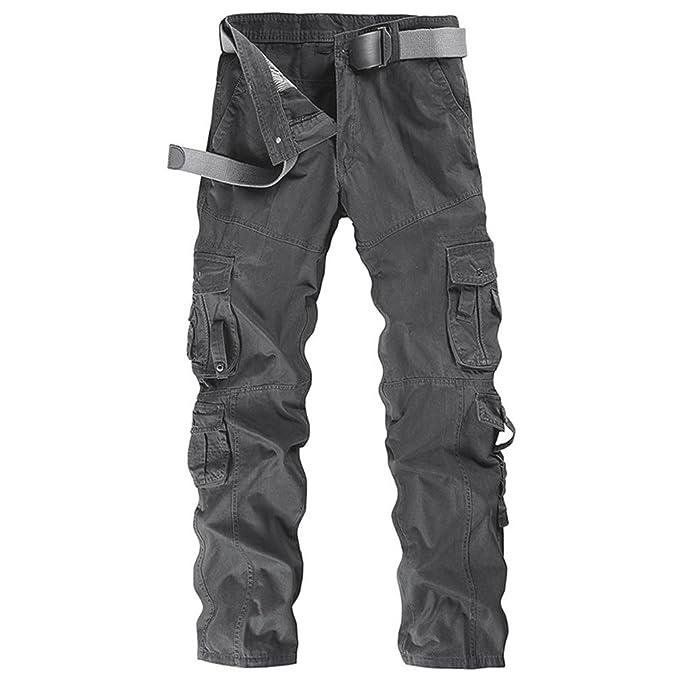 ZKOO Pantalon Multi Bolsillos Laboral Hombre Cargo Pantalons Pantalones De Trabajo Militar Casual Algodón