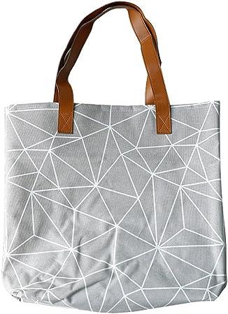 znvmi algodón ropa Saco ropa sucia (Bolsa de tela bolsa para la compra con asas largas Bolsas para almacenar juguetes, ropa, libros – Gris Geometría: Amazon.es: Hogar