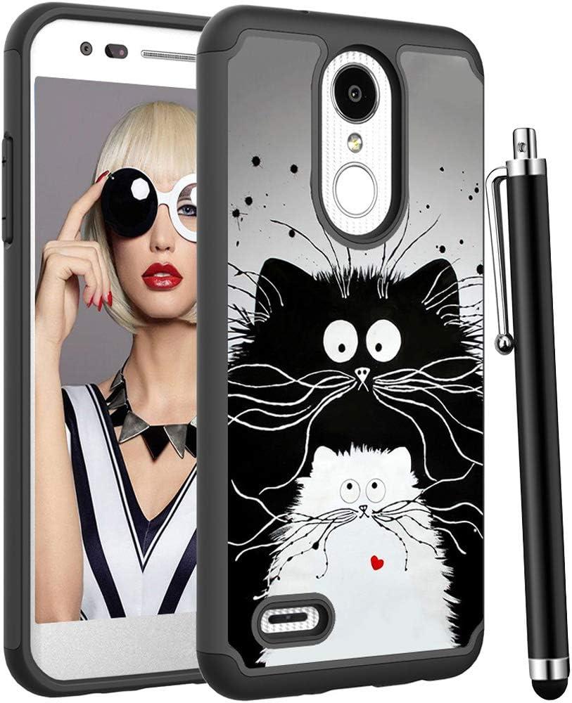 Voanice for LG Aristo 3 Case/Aristo 2 /Aristo 2 Plus/Tribute Empire/Tribute Dynasty/Rebel 4 LTE/Zone 4/Rebel 3 LTE/Phoenix 4/Fortune 2,Heavy Duty Hybrid Shockproof Phone Cover&Stylus-Cute Black Cats
