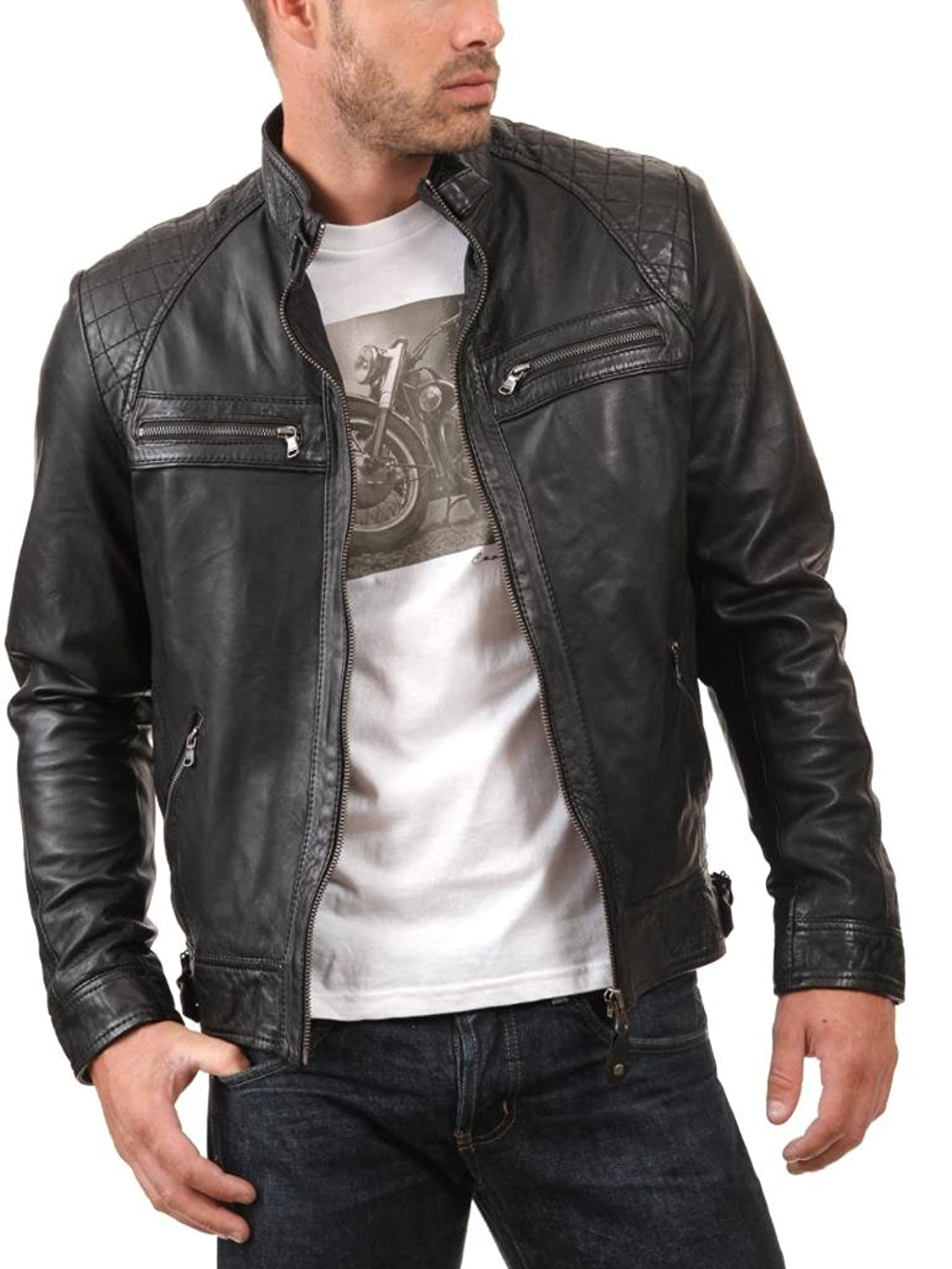 Men Leather Jacket Biker Motorcycle Coat Slim Fit Outwear Jackets AUK038