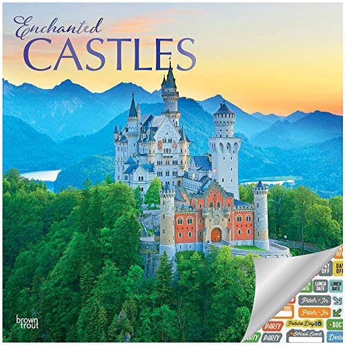 Enchanted Castles Calendar 2019 Set - Deluxe 2019 Castles Wall Calendar with Over 100 Calendar Stickers (Castles Gifts, Office Supplies)