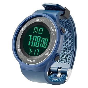 799bc408f5 デジタル腕時計 メンズ スポーツウォッチ アラーム 大文字盤 LED バックライト ストップウオッチ ブルー
