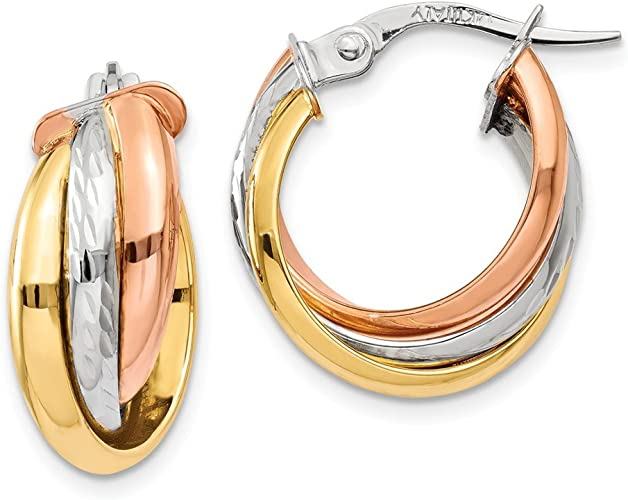 14kt Yellow Gold// Tri Color Gold Shiny Hoop Earring with Hinged Clasp