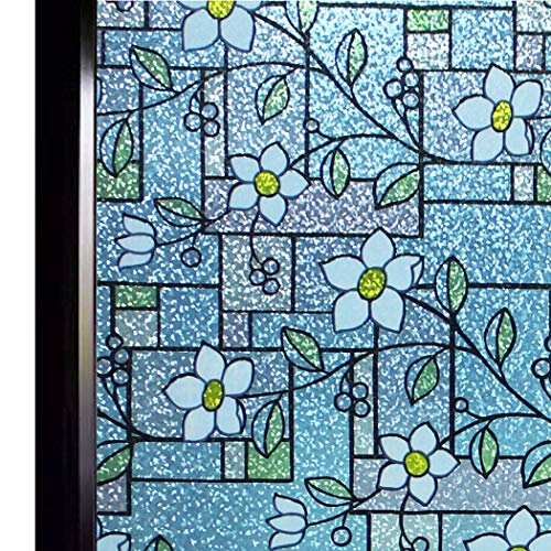 (DUOFIRE Stained Glass Window Film Color Flower Pattern Privacy Window Film Decorative Glass Film No Glue Anti-UV Window Sticker Non Adhesive for Bedroom Living Room 35.4in. x 118in.)