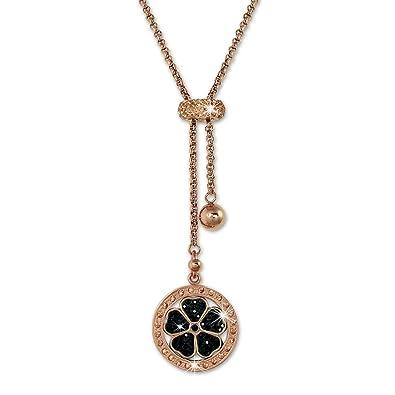 336c6ebe62e4 Amello – Collier en Acier Inoxydable plaqué Or Rose avec Une Feuille de trèfle  Pendentif –