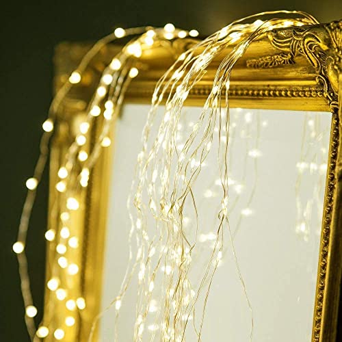 24HOCL Solar Powered Twinkle Fairy Lights, 14 Strands 280 LED 8 Modes Waterproof String Lights Decorative Golden Copper Wire String Lights for Halloween, Christmas, Garden, Yard, Outdoor