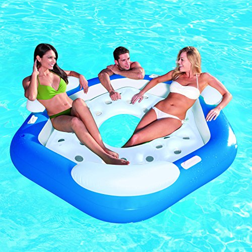 Bestway 3 Person Inflatable Floating Water Island Lounge Tube Raft - 75