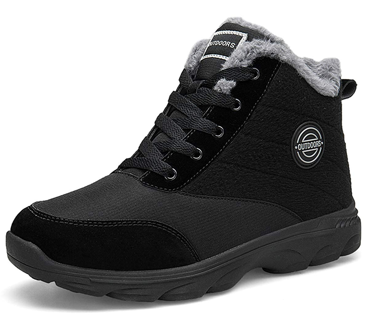 Black BomKinta Women's Snow Boots Water Resistant Surface Anti-Slip Soft Sole Warm Fur Lined Winter Ankle Booties