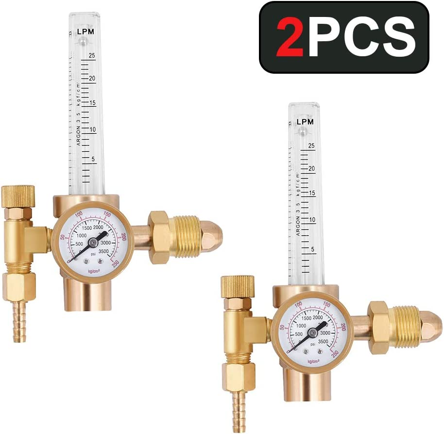 HZXVOGEN Flowmeter Argon Co2 Gas Regulator Tig Mig Welding Pressure Reducer Flow Gauge (2PCS)