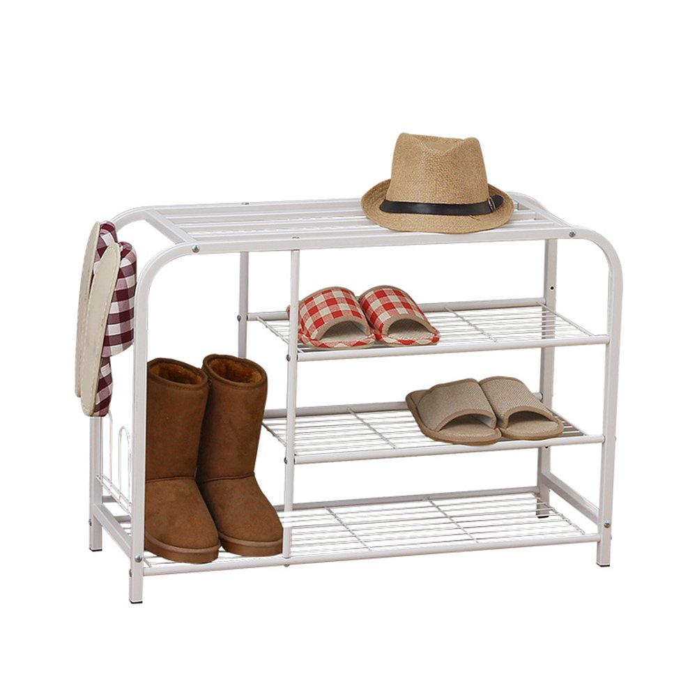 YNN 靴白い靴ベンチ3段鉄の靴箱シェルフ寝室廊下の玄関用 B07F11RDPK