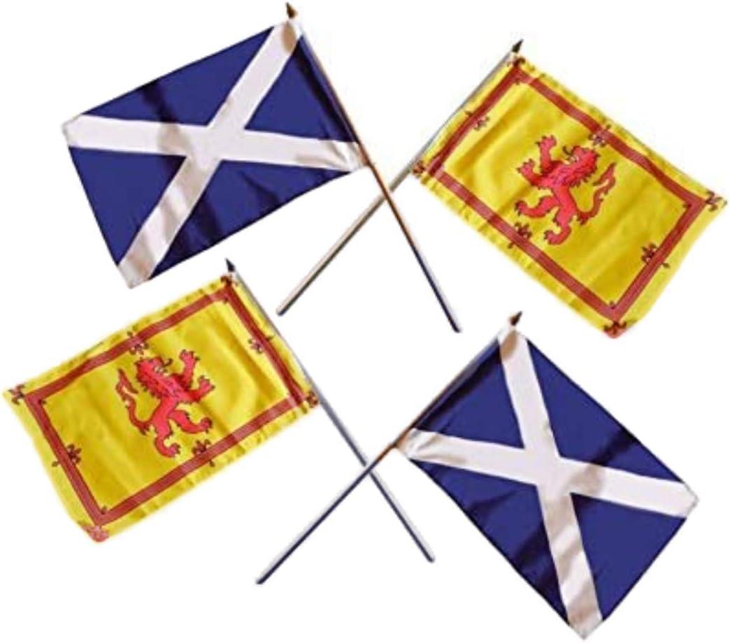 Schottland Hand Flaggen Vier Unterschiedliche 2 Paar Von St Andrew S Saltire Kreuz Scottish Lion Rampant Flaggen Top Qualität Hand Winkt Schottische Flaggen Je Ca 45 7 X 30