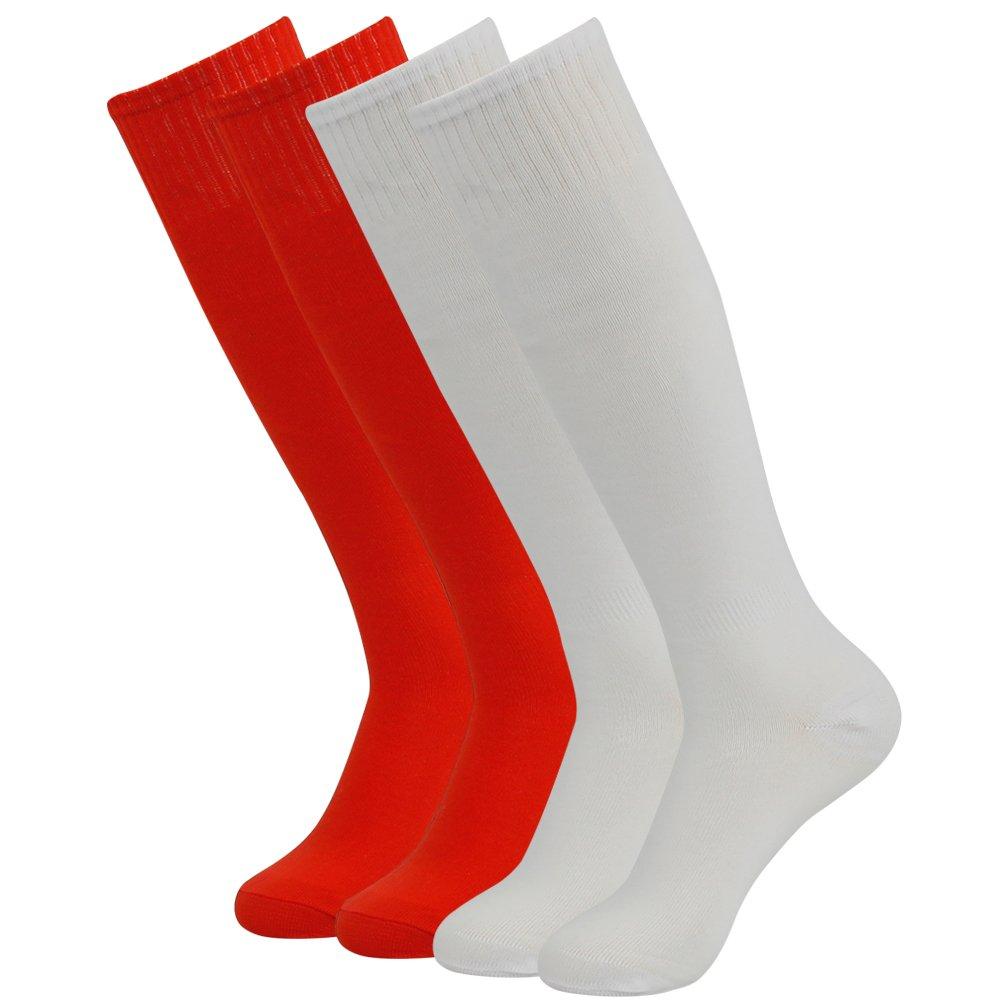 Soccer Socks Knee High, Diwollsam 2 Pack Mens Moisture Management Baseball Football Team Cushion Socks(Red/White) by diwollsam
