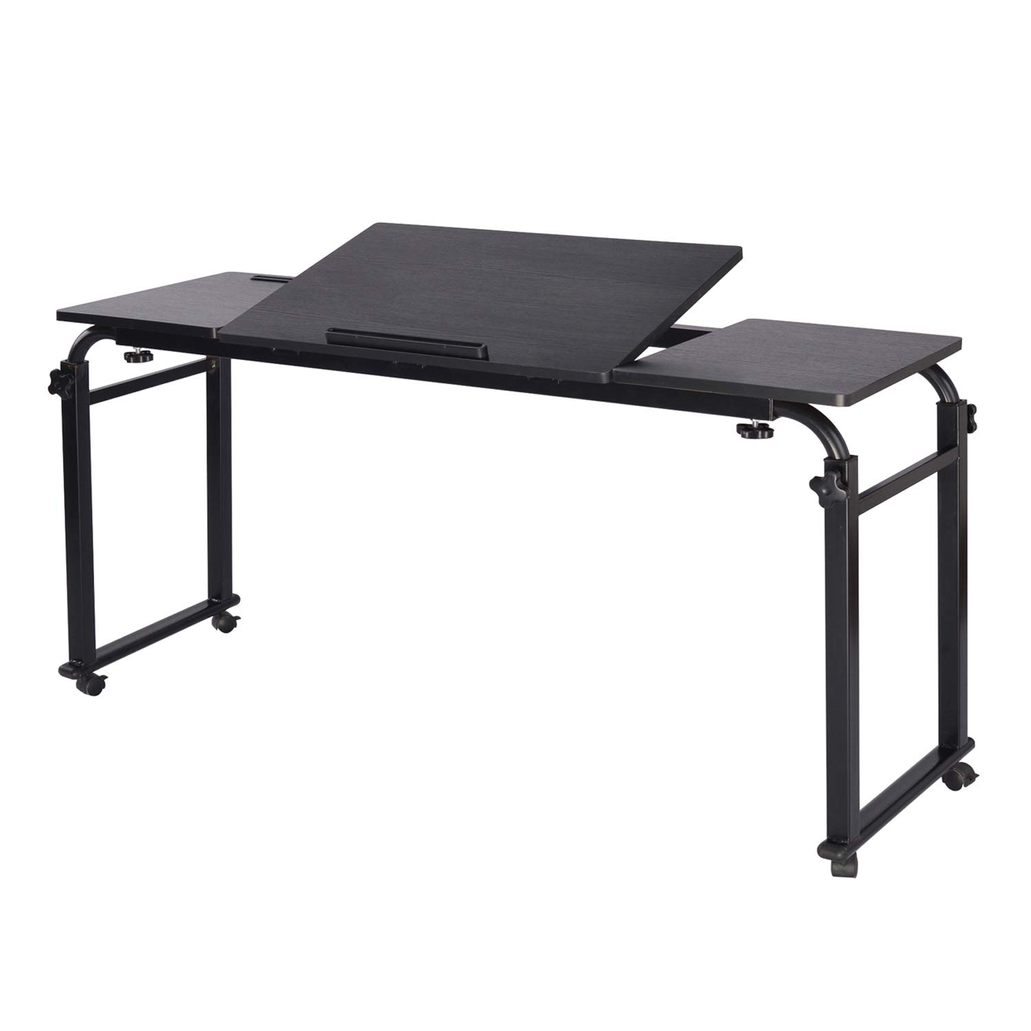 Overbed Table with Wheels Mobile Laptop Desk Cart Computer Table Over The Bed Table Adjustable Height and Length with Tilt Stand Board for Hospital and Home by KOMOREBI