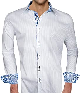 product image for White with Blue Accent Designer Dress Shirt - Made in USA