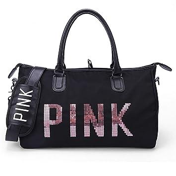 Playa Sequins Black Pink de Bolsos Bolsos Gimnasia de Viaje de Tote Mujer SPOROWJD Bolso Love PqdwTxP5
