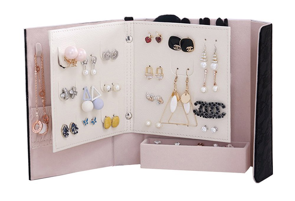 Jewelry Organizer, Portable Earring Organizer Book Multifunctional Travel Jewelry Case for Earrings,Necklace,Rings and Makeup Brushes (Black)