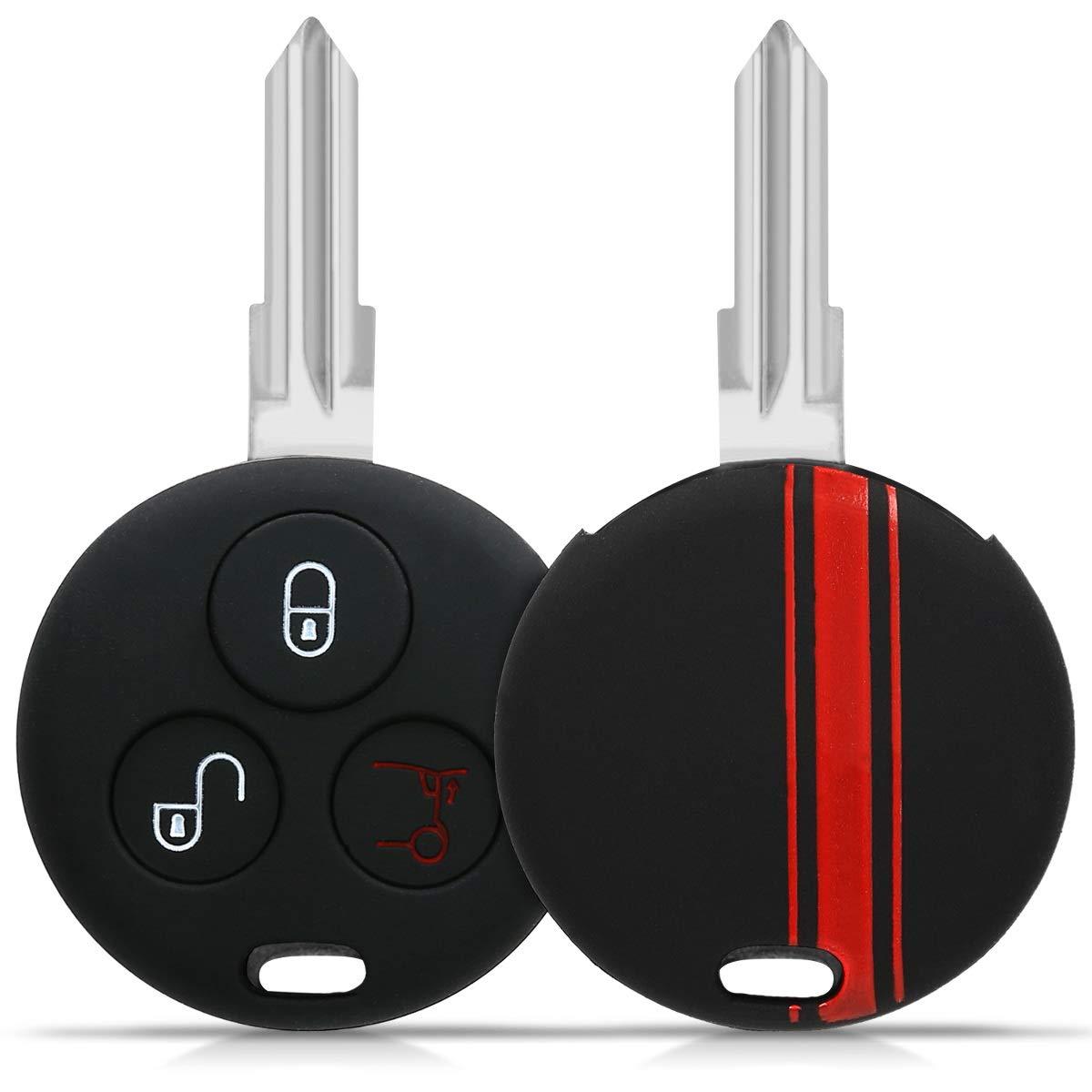 Coque pour Clef de Voiture /à Distance Smart 3-Bouton en Silicone Noir kwmobile Accessoire cl/é de Voiture pour Smart /Étui de Protection Souple