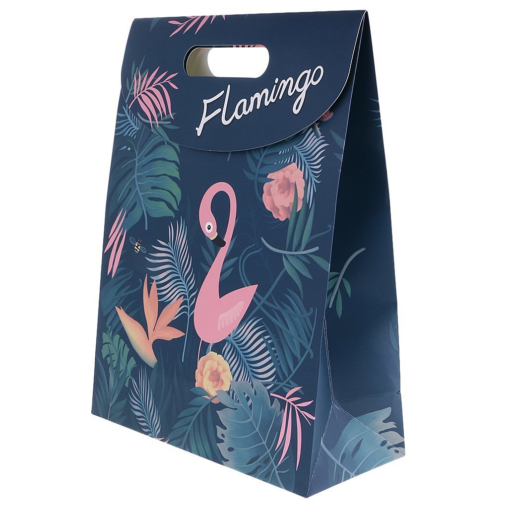 Party Favor Bags Flamingo Paper Gift Bags With Handle Fashion Paper Treat Bags for Parties Shopping Wedding Goody and Loot Bags (L)