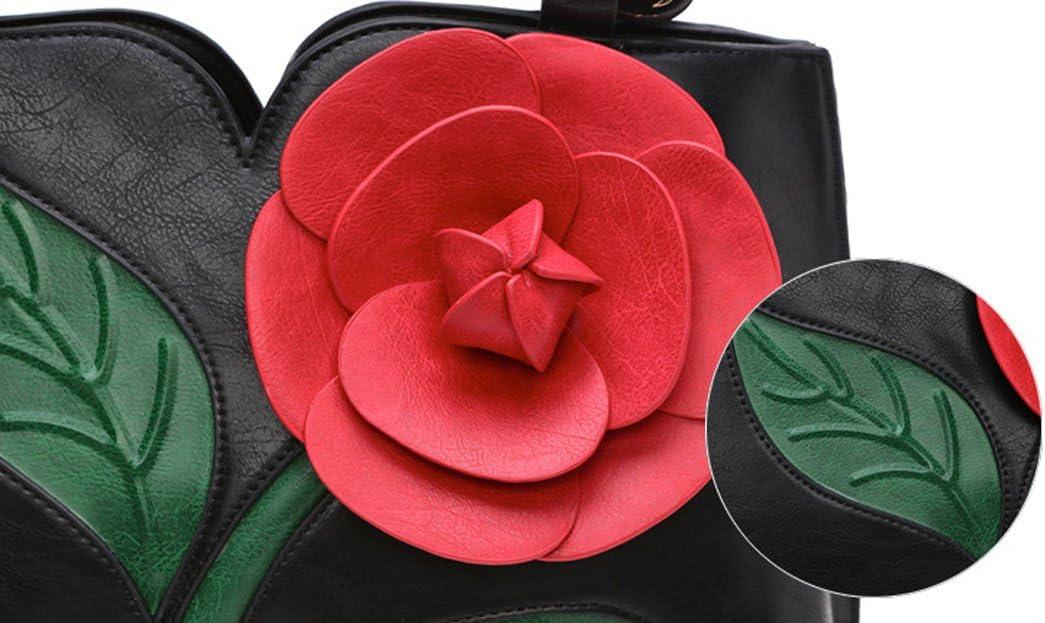 AnKoee Ladies Elegant Flower PU Leather Shoulder Bag Ladies Evening Party Handbag