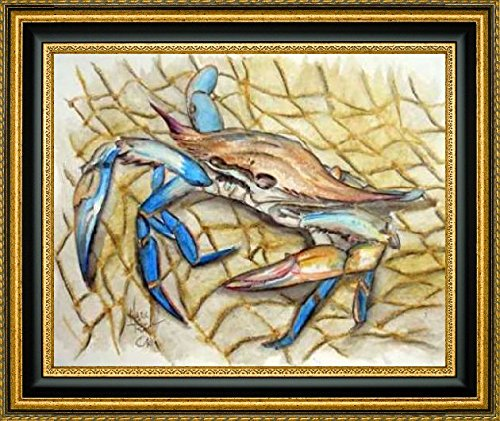 "Framed Canvas Print Wall Art Blue Crab by Mark Ray - 24"" x 30"" Ready to Hang"