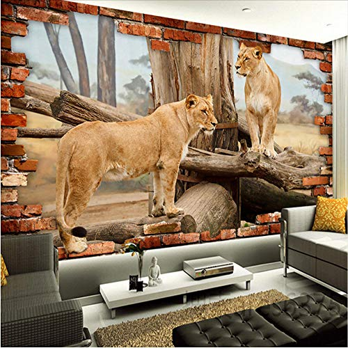 Wall Stickers Murals Photo Wallpaper Modern Animal Lions Broken Wall Mural Living Room Tv Sofa Backdrop Wall Fresco 3Droom 450X300Cm
