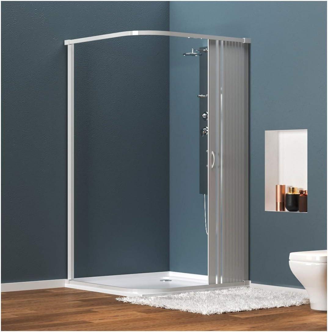 Mampara ducha angular extensible en PVC, apertura lateral, una hoja, 90 x 90 cm, Altura 185 cm, BLANCO: Amazon.es: Hogar