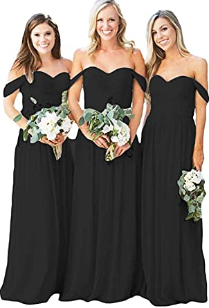65fce5013d9 Image Unavailable. Image not available for. Color  Women s Chiffon Off The  Shoulder Ruched Bridesmaid Dresses Long Sweetheart A-Line Prom Dresses  Evening