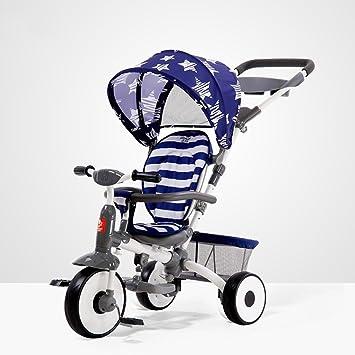 Triciclo Para Niños Ajuste Del Respaldo Bicicleta Sombrilla Ajustable Protección Solar Anti-UV Bicicleta Cochecito De Bebé Cesta De Almacenamiento Embrague ...
