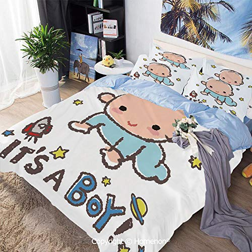 Homenon 3-Piece Bed,Little Baby Boy Smiling with Stars Rocket Space Kid Artsy Cartoon,Full Size,100% Microfiber Super Soft,Breathable,Multicolor