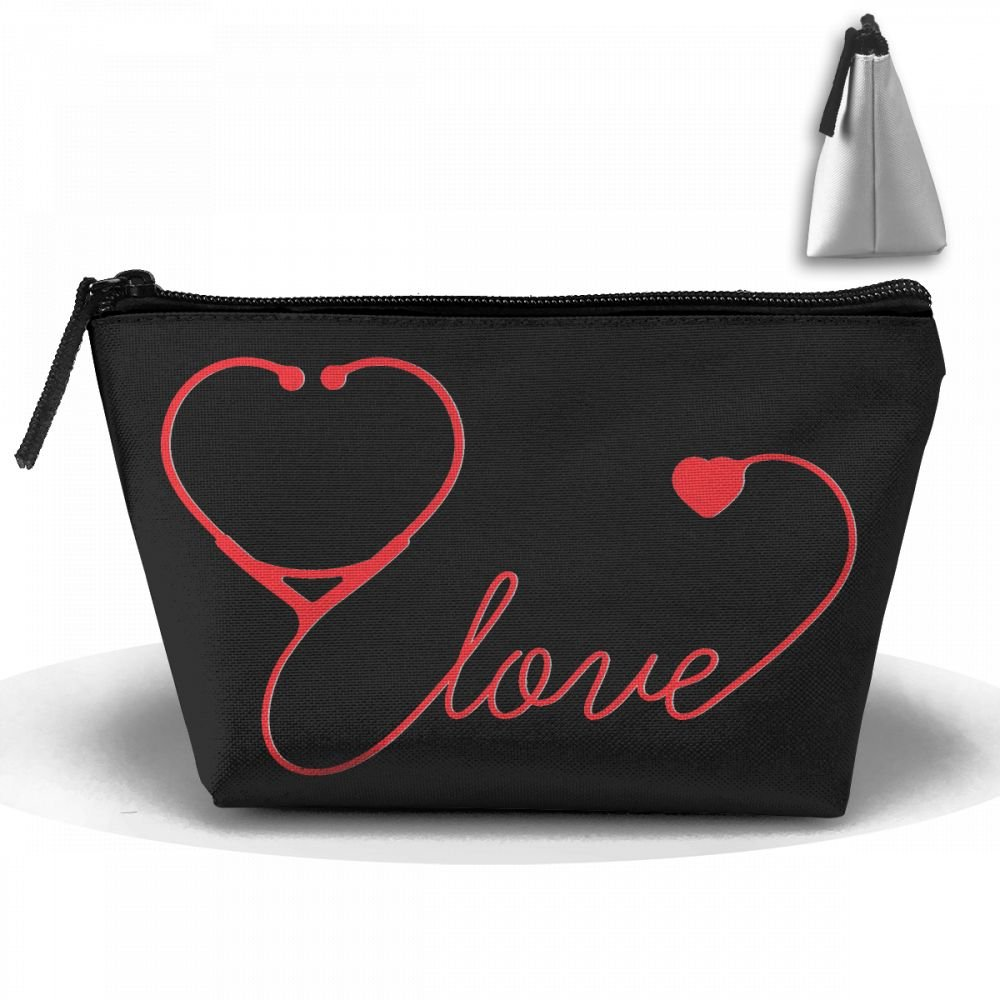 Nurse Love Stethoscope With Heart Cosmetic Bags Portable Travel Toiletry Pouch Makeup Organizer Bag With Zipper